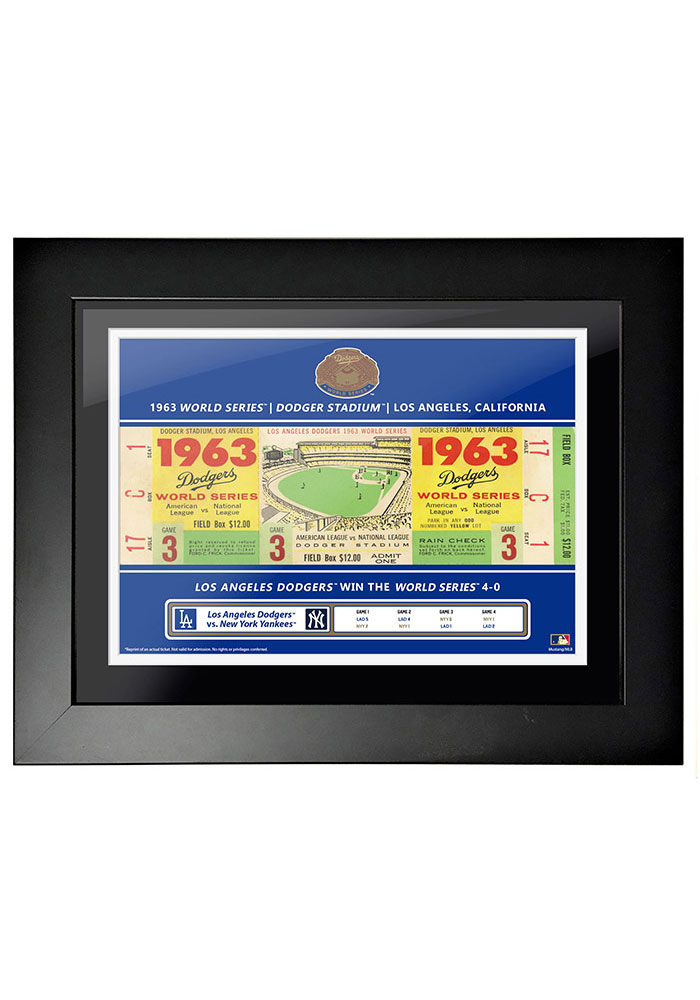 Los Angeles Dodgers 1963 World Series Ticket Framed Posters - Image 1