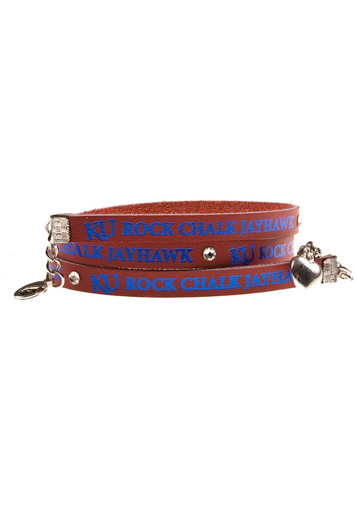 Kansas Jayhawks Red Leather Wrap Womens Bracelet - Image 1
