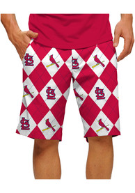 St Louis Cardinals Loudmouth Golf Argyle Shorts - Red