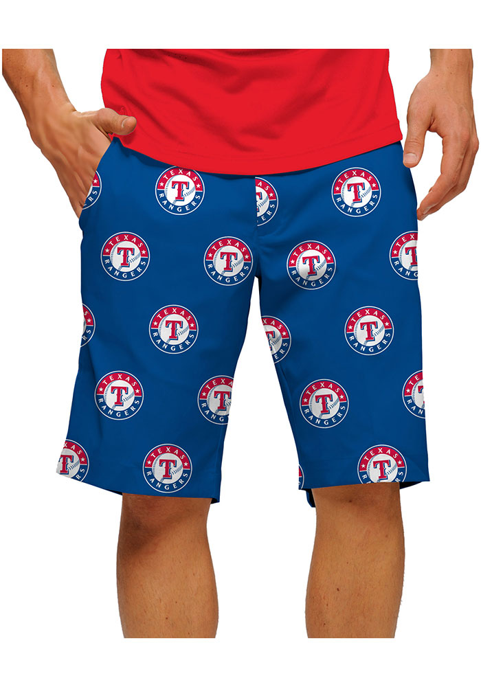 Loudmouth Golf Texas Rangers Mens Red Argyle Shorts - Image 1