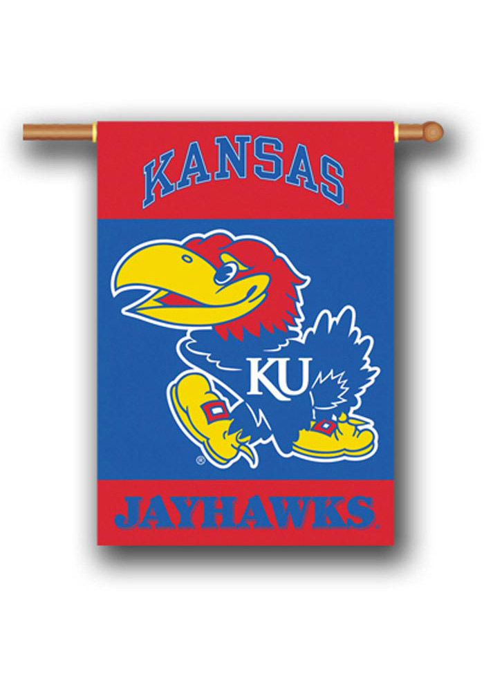 Kansas Jayhawks 28x40 Red and Blue Silk Screen Banner - Image 1