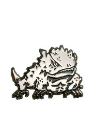 TCU Horned Frogs Chrome Mascot Car Emblem - White