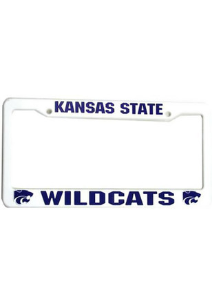 K-State Wildcats White Plastic License Frame