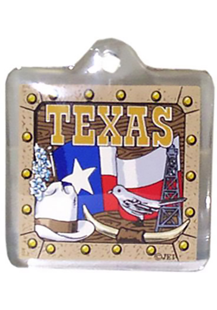 Texas Flag Hat Lucite Keychain - Image 1