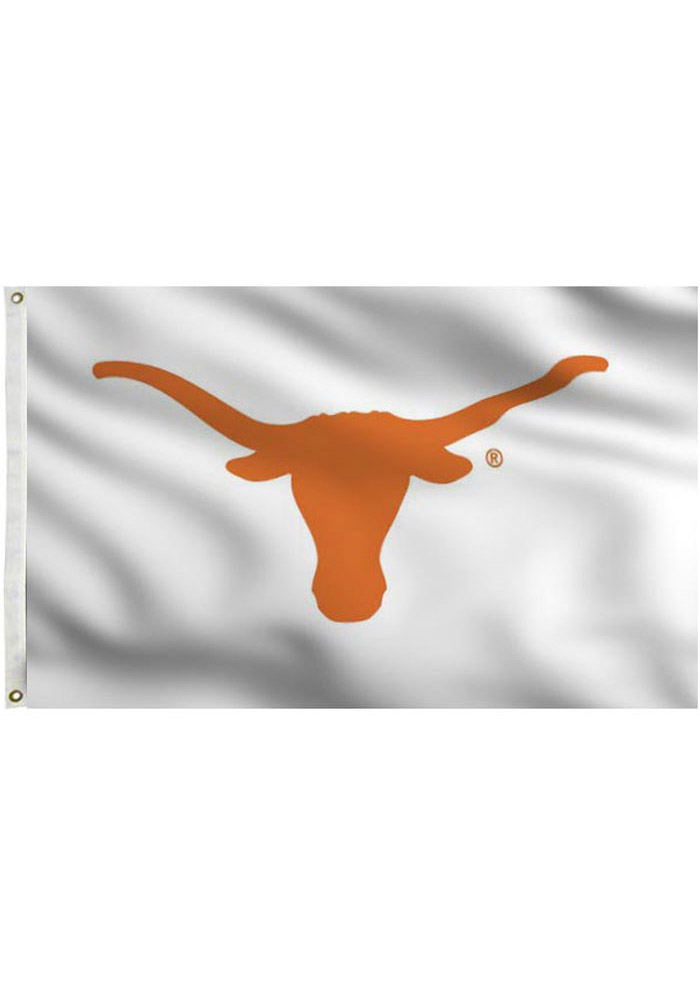 Texas Longhorns 3x5 White Grommet White Silk Screen Grommet Flag - Image 1