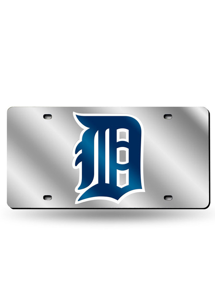 Detroit Tigers Team Logo Silver Car Accessory License Plate - Image 1