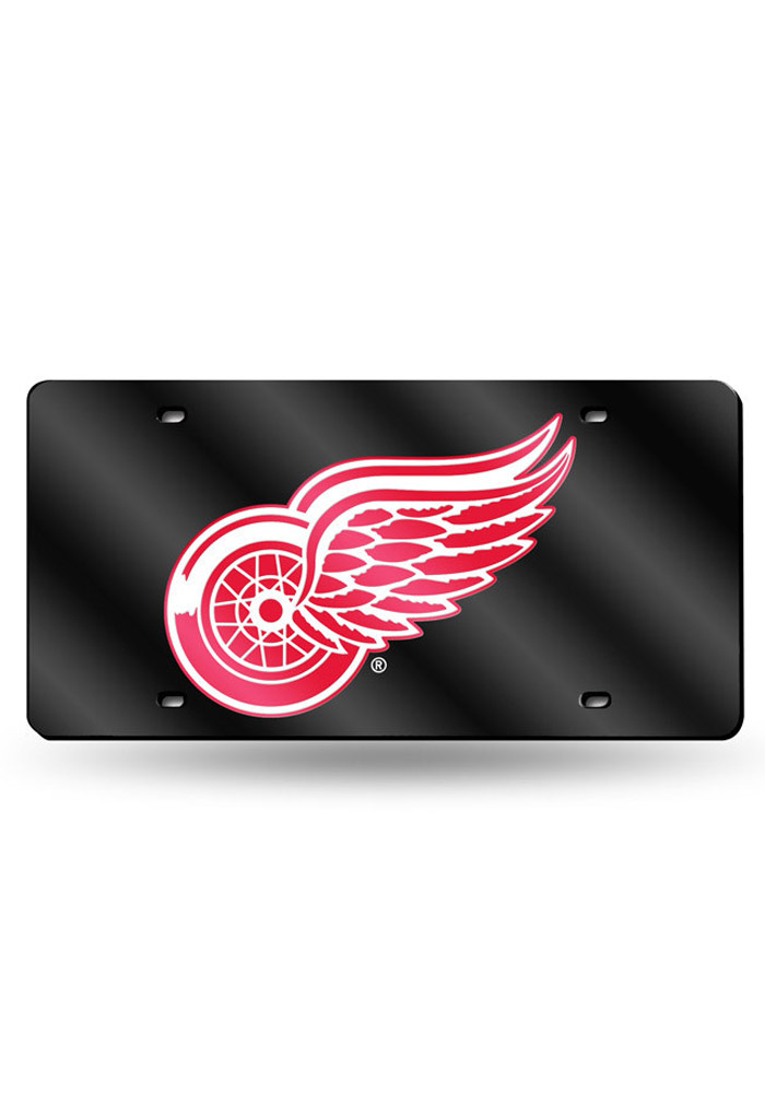 Detroit Red Wings Black Acrylic Car Accessory License Plate - Image 1