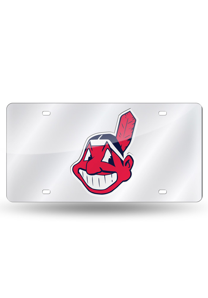 Cleveland Indians Team logo Silver Car Accessory License Plate - Image 1