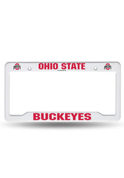 Ohio State Buckeyes White Plastic Car Accessory License Frame