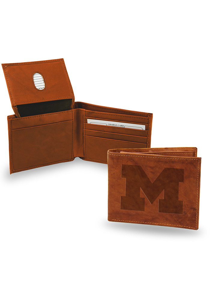 Michigan Wolverines Embossed Leather Mens Bifold Wallet - Image 1