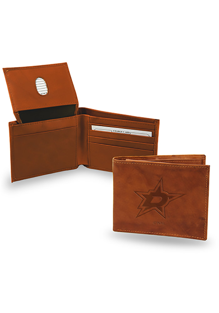 Dallas Stars Embossed Leather Mens Bifold Wallet - Image 1