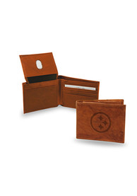 Pittsburgh Steelers Manmade Leather Bifold Wallet - Brown