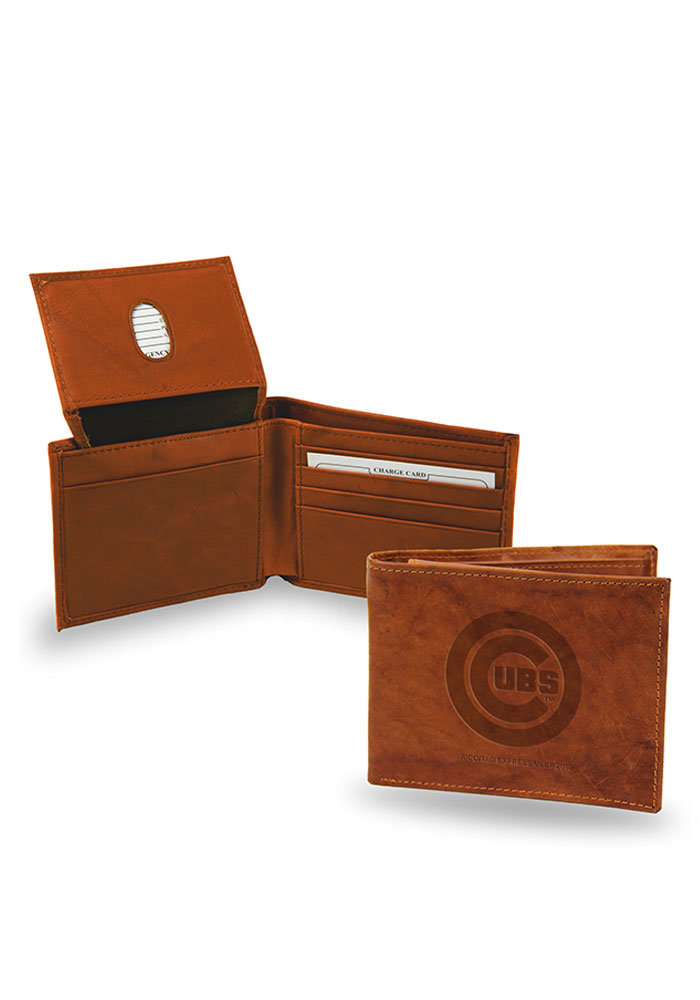 Chicago Cubs Embossed Leather Mens Bifold Wallet - Image 1