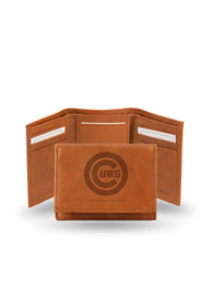 Chicago Cubs Embossed Leather Trifold Wallet - Brown