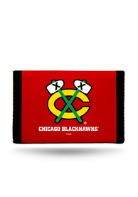 Chicago Blackhawks Nylon Trifold Wallet - Black