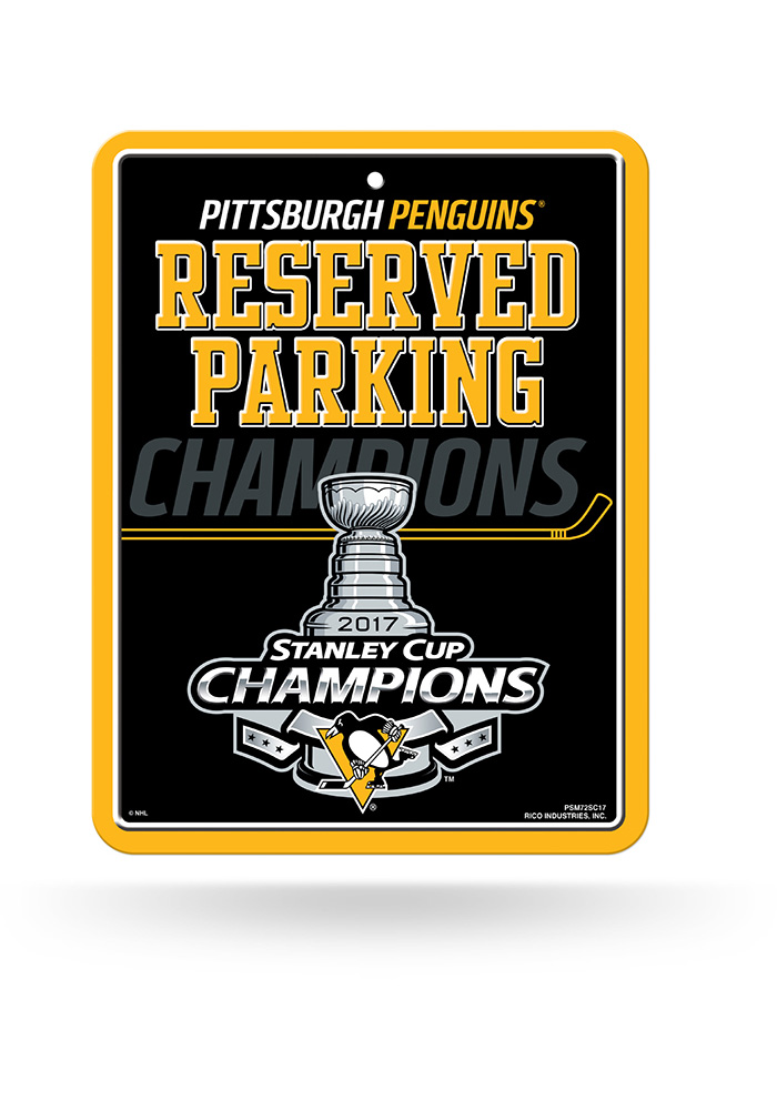 Pittsburgh Penguins 2017 Stanley Cup Champions Sign, Yellow, METAL