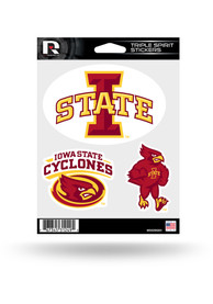 Iowa State Cyclones 3pk Auto Decal - Red