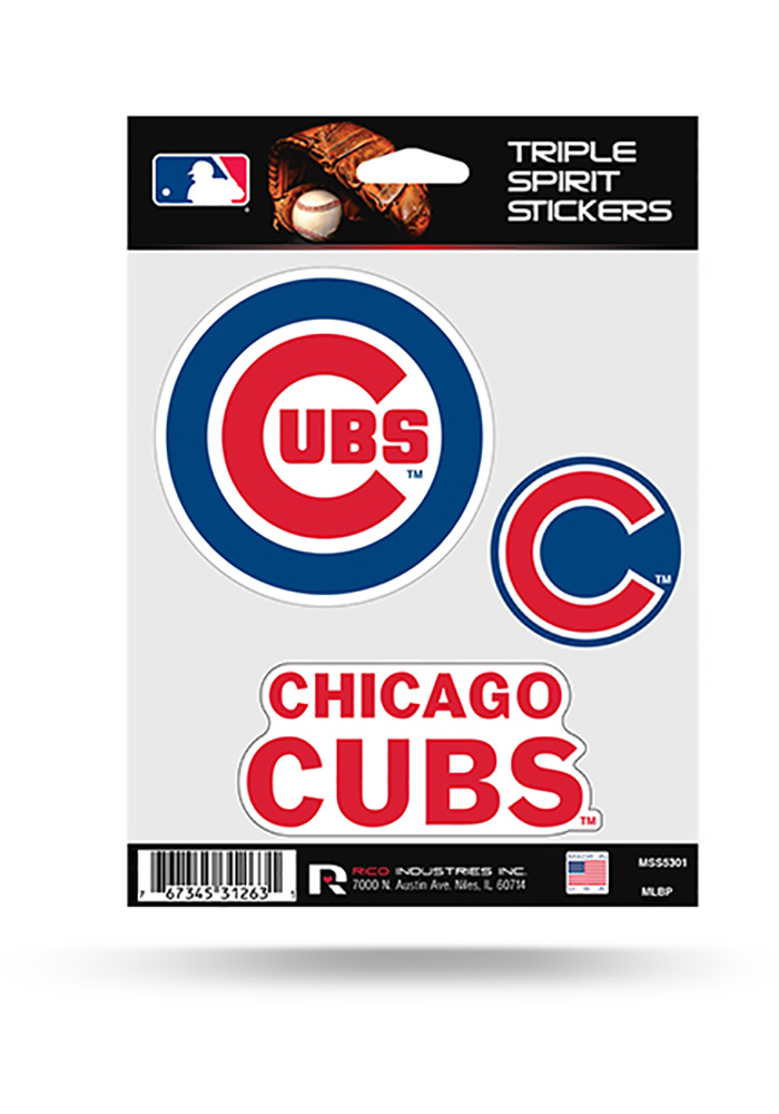 Chicago Cubs 3PK Auto Decal - Blue - Image 1