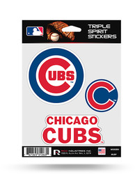 Chicago Cubs 3PK Auto Decal - Blue