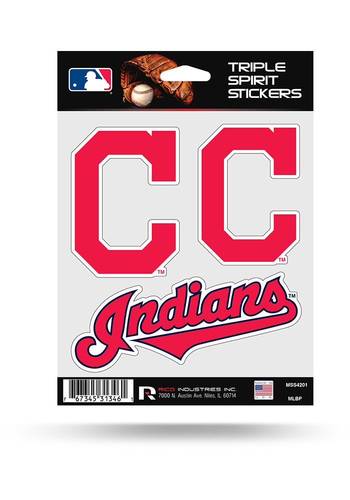 Cleveland Indians 3PK Auto Decal - Red - Image 1