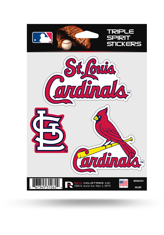 St Louis Cardinals 3PK Auto Decal - Red - Image 1