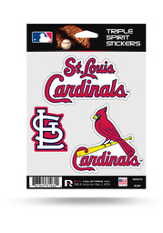 St Louis Cardinals 3PK Auto Decal - Red