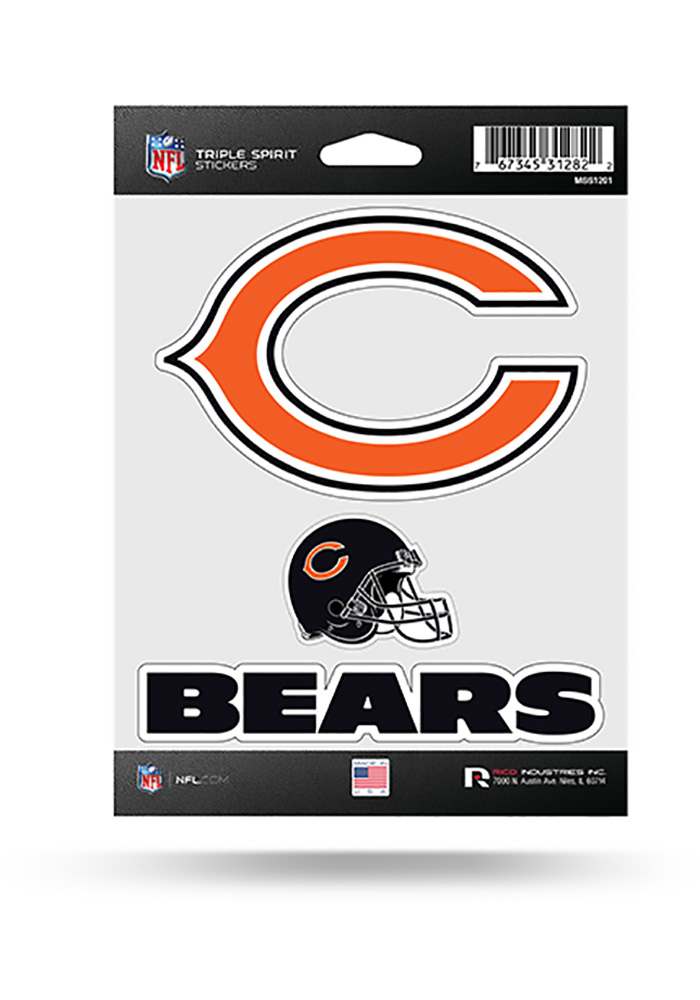 CHICAGO BEARS 3X4 MULTI-USE DECAL PERFECT FOR CAR WINDOWS Football-NFL Fan Apparel & Souvenirs