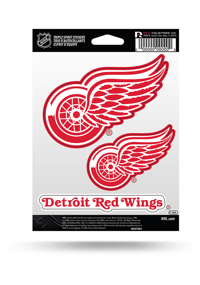 Detroit Red Wings 3PK Auto Decal - Red - Image 1