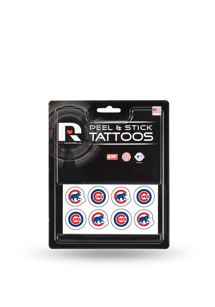 Chicago Cubs 8 Pack Peel Stick Tattoo - Image 1