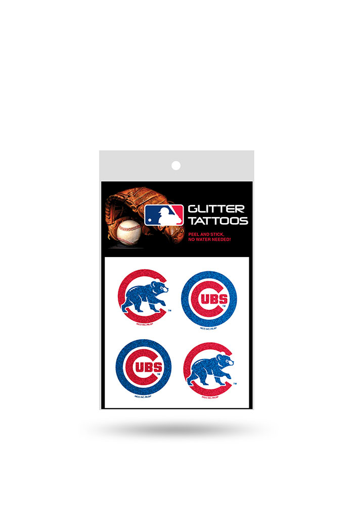 Chicago Cubs Glitter 4 Pack Tattoo - Image 1