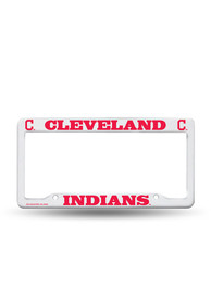 Cleveland Indians White Plastic License Frame