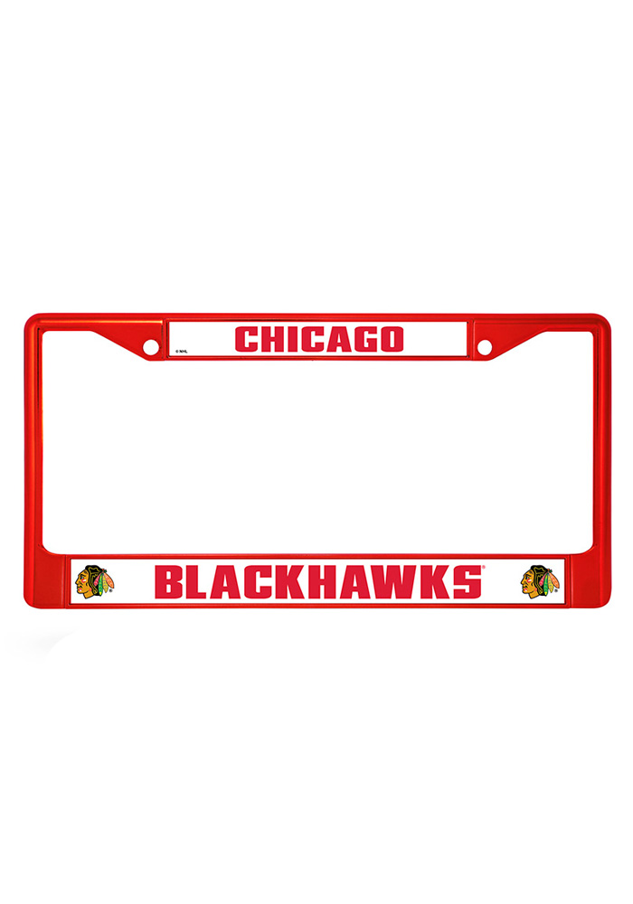 Chicago Blackhawks Red Colored Chrome License Frame - Image 1
