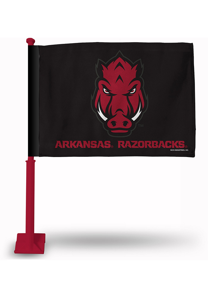 Arkansas Razorbacks 11x16 Silk Screen Print Car Flag - Red - Image 1