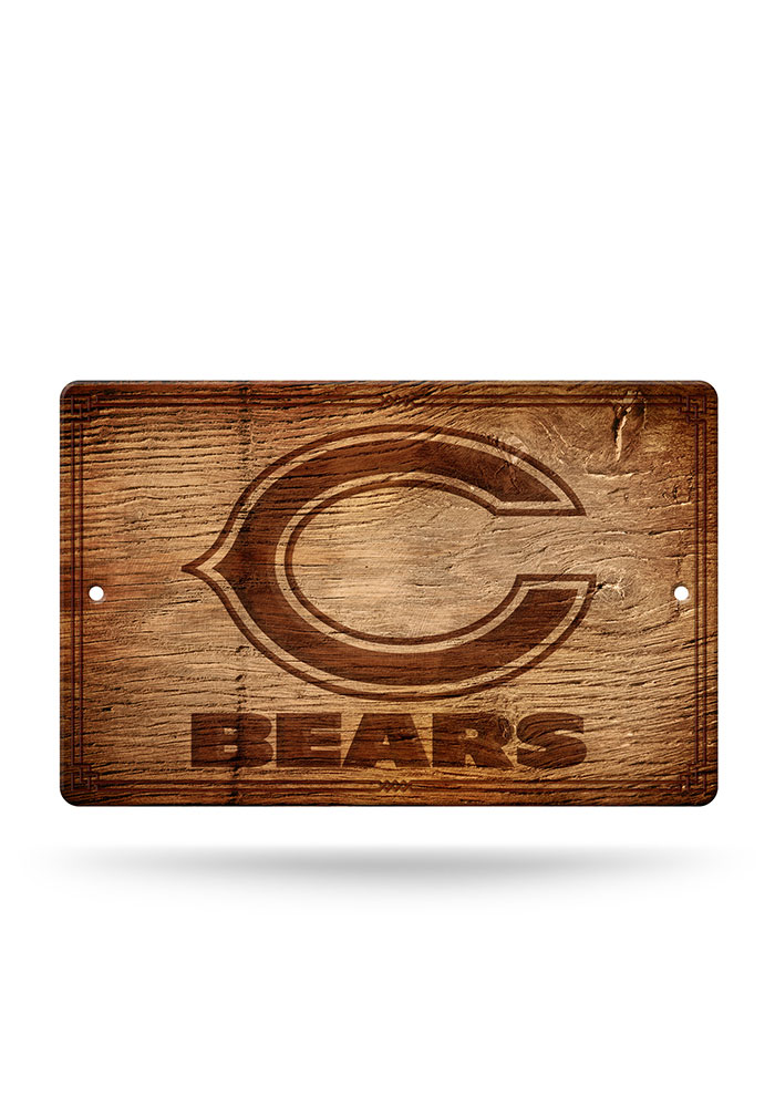 Chicago Bears Fantique Plastic Wood-Look Sign - Image 1
