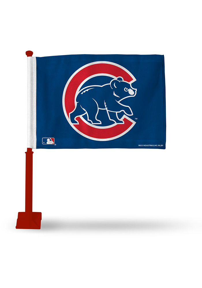 Chicago Cubs 11x16 Silk Screen Print Car Flag - Blue - Image 1