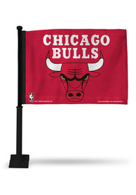 Chicago Bulls 11x16 Silk Screen Print Car Flag - Red