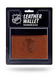 Chicago Blackhawks Manmade Trifold Wallet - Brown