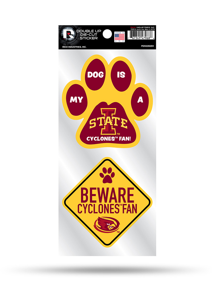 Iowa State Cyclones 2-Piece Pet Themed Auto Decal - Red - Image 1