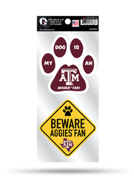 Texas A&M Aggies 2-Piece Pet Themed Auto Decal - Maroon