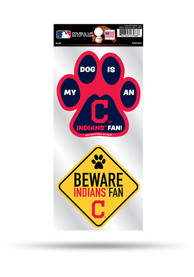 Cleveland Indians 2-Piece Pet Themed Auto Decal - Navy Blue