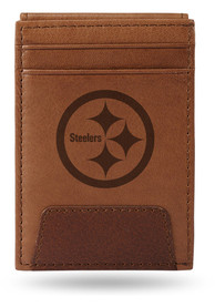 Pittsburgh Steelers Front Pocket Bifold Wallet - Brown