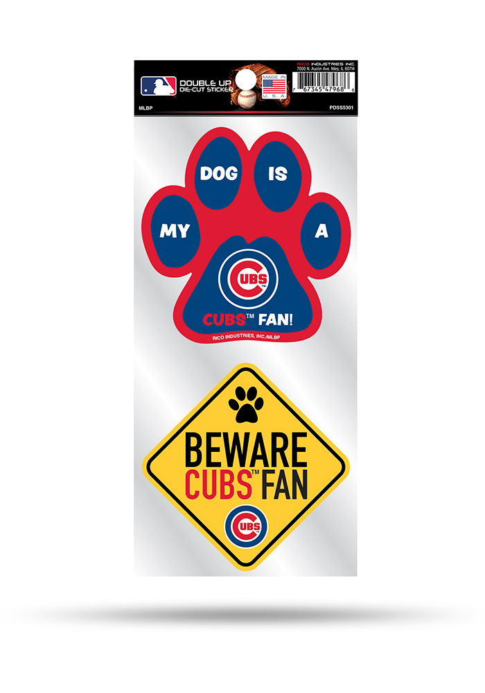 Chicago Cubs 2-Piece Pet Themed Auto Decal - Blue - Image 1