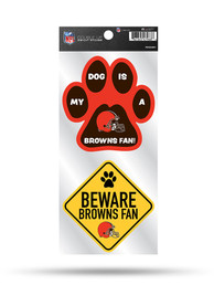 Cleveland Browns 2-Piece Pet Themed Auto Decal - Orange