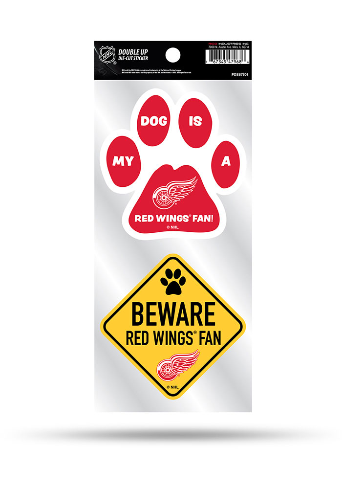 Detroit Red Wings 2-Piece Pet Themed Auto Decal - Red