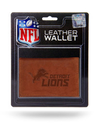 Detroit Lions Manmade Trifold Wallet - Brown