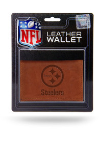 Pittsburgh Steelers Manmade Trifold Wallet - Brown