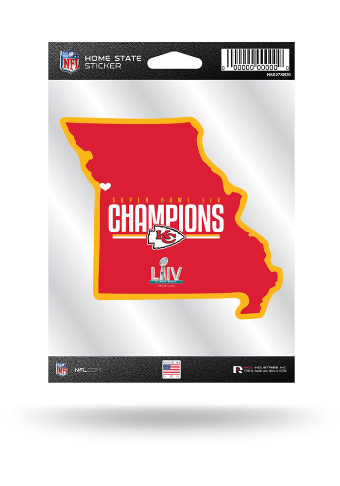 Kansas City Chiefs Super Bowl LIV Champions Home State Auto Decal - Red - Image 1