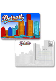 Detroit Skyline Shape Cut Paper Postcard
