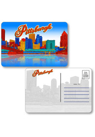 Pittsburgh Skyline Shape Cut Paper Postcard