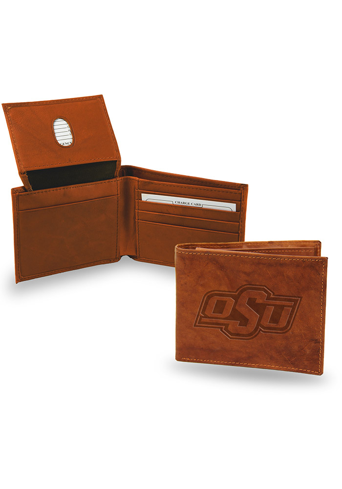 Oklahoma State Cowboys Embossed Leather Mens Bifold Wallet - Image 1